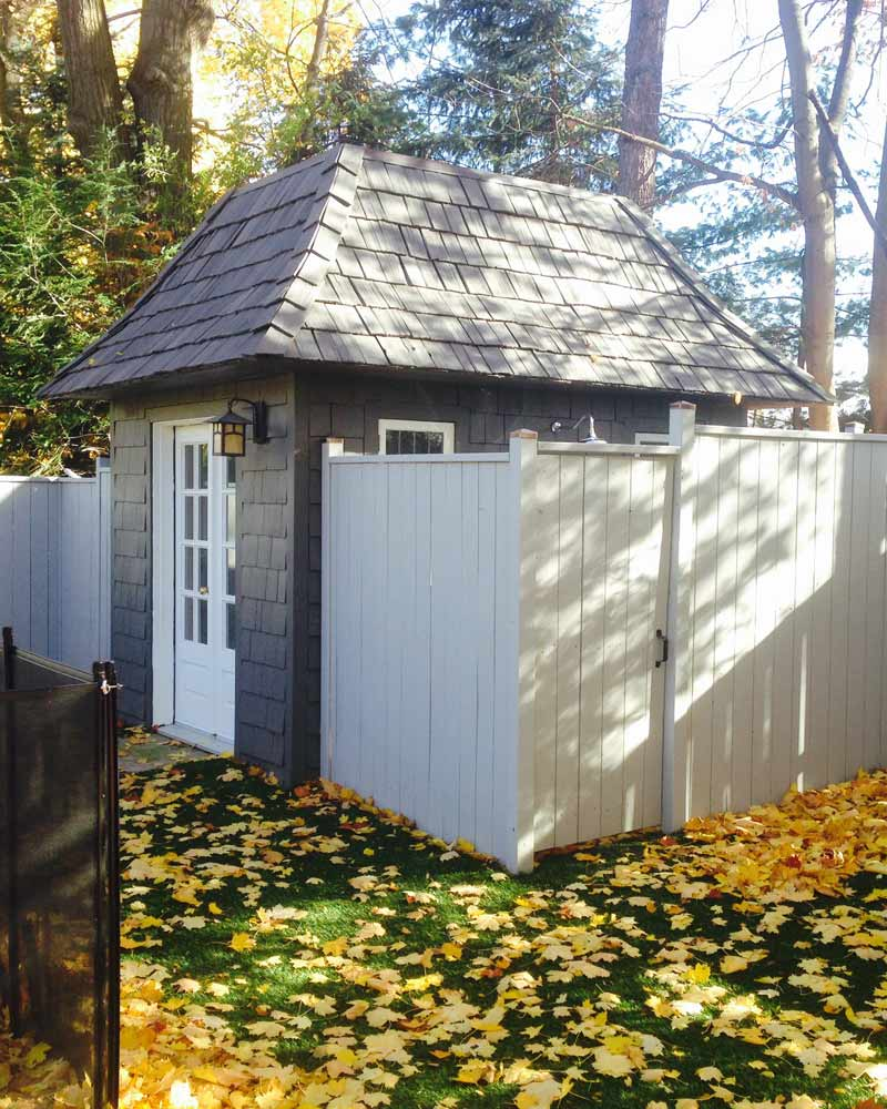 Painted shed in the fall.